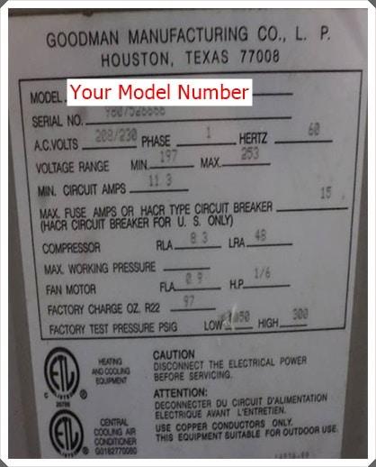 goodman model number