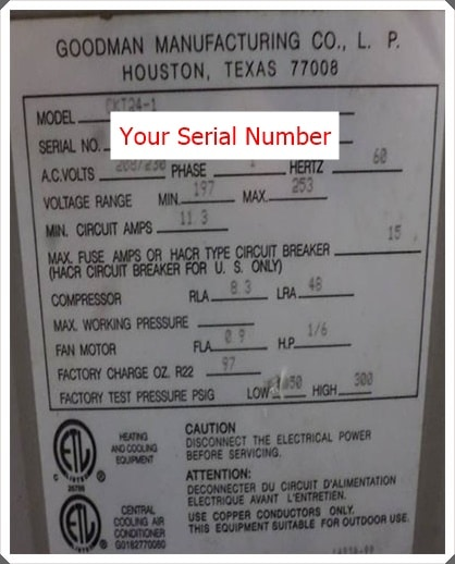 goodman serial number lookup