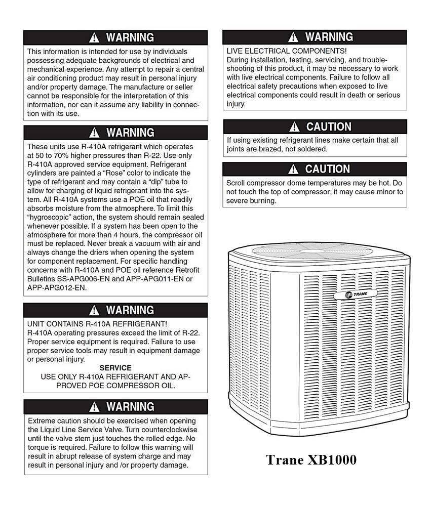 trane xb1000 manual pdf