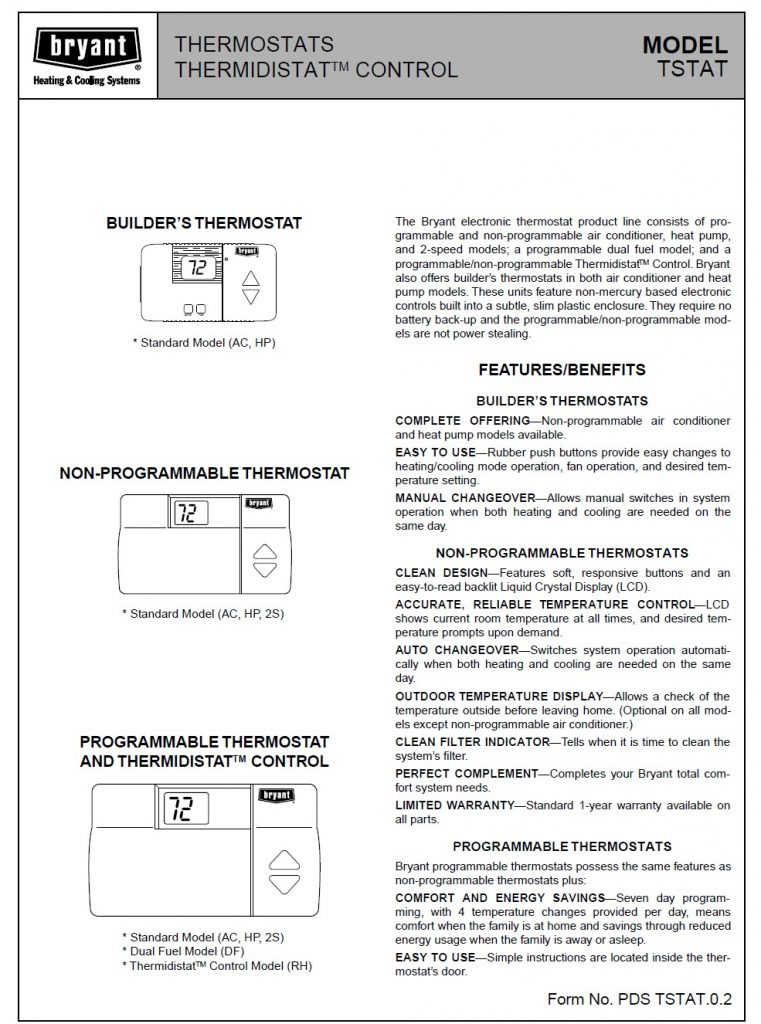 bryant thermostat manual