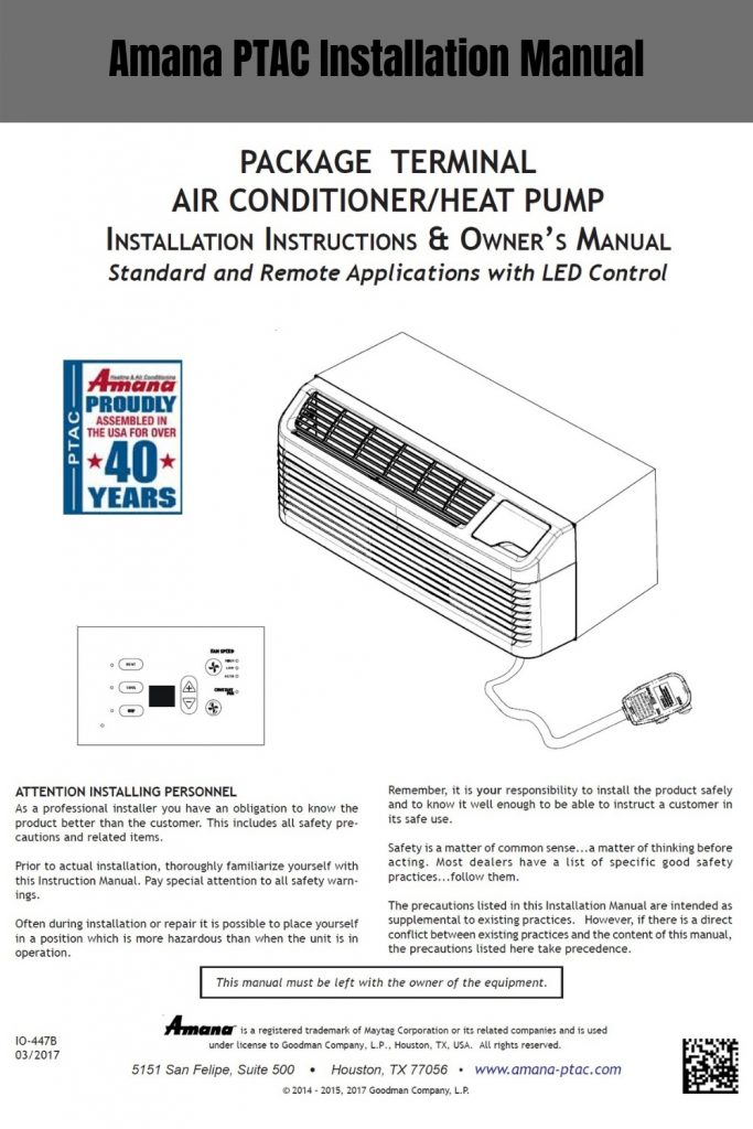 Amana PTAC Installation Manual