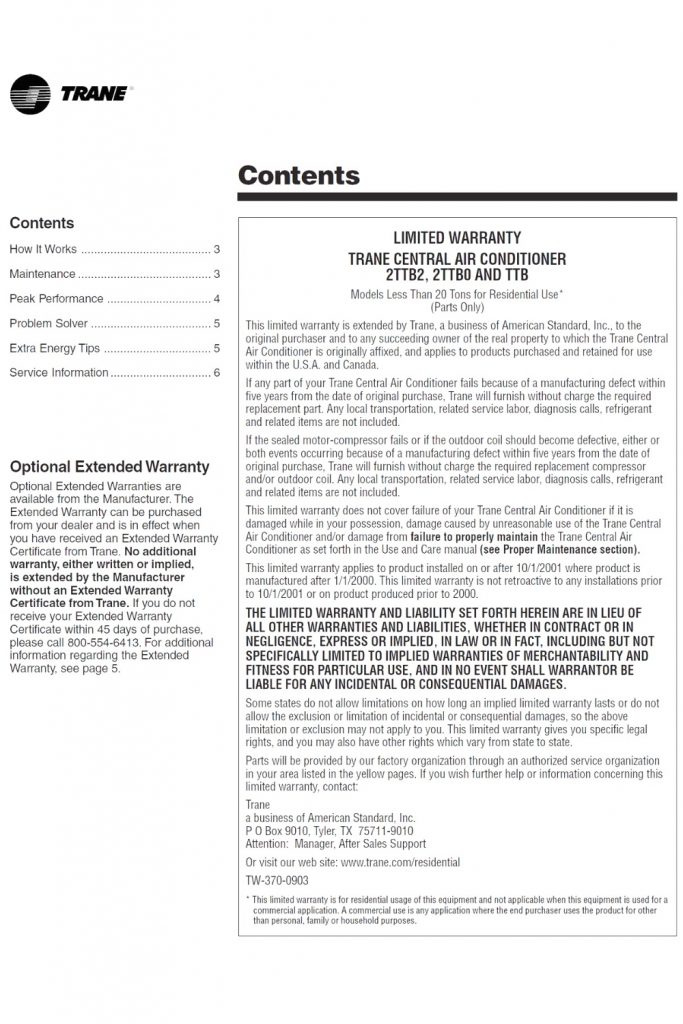 Trane XE1200 Heat Pump Manual