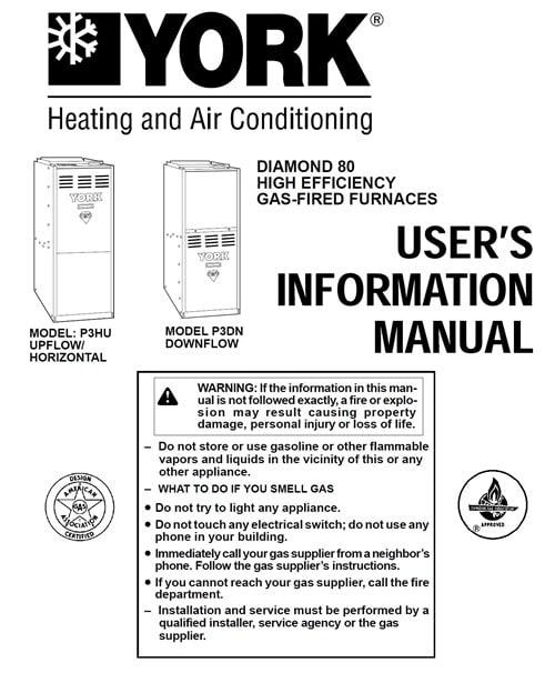 york diamond 80 furnace user's information manual