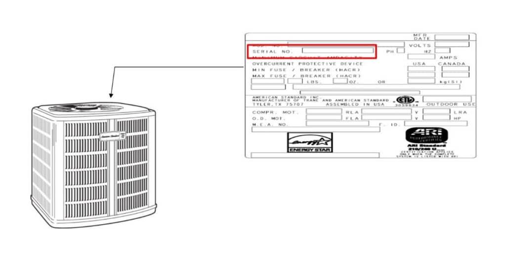 American Standard Air Conditioner or Heat Pump Serial Number